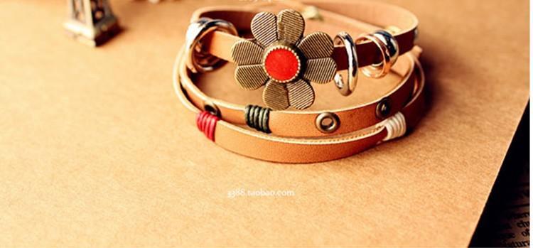 Hot New Pulseiras De Couro Moda Retro flores tomar estilo étnico de débito imitação pulseira de couro Frete Grátis 345