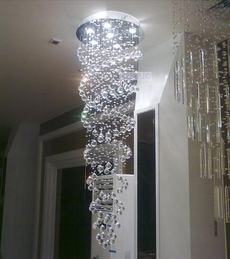 Doppelhelix Design Kristall Anhänger Penthouse Treppenlampe Anhänger Hotel Villa Kristall Lampe