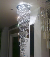 Wholesale Double helix design crystal pendants penthouse stair lamp pendant Hotel Villa crystal lamp