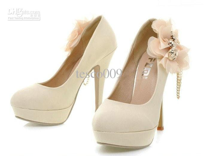 Hot 2012 Women New High Heels Chiffon Flower Decoration