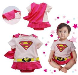 Wholesale Smock Dress Girl - Free Shiping+4 sets lot Baby Girl Boy Superman Romper Baby Dress Smock Baby Cloak Infant Costume