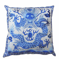 Wholesale Fabric Couches - Dragon Embroidered Pillow Cases Unique 18inch High Quality Chinese Style Satin Fabric Decorative Cushion Cover for Couch Chair