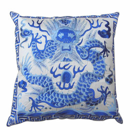 Wholesale Fabric Light Covers - Dragon Embroidered Pillow Cases Unique 18inch High Quality Chinese Style Satin Fabric Decorative Cushion Cover for Couch Chair