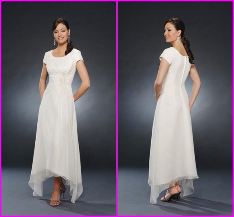 2015 New! White A Line Scoop Neck Simple Ankle Length