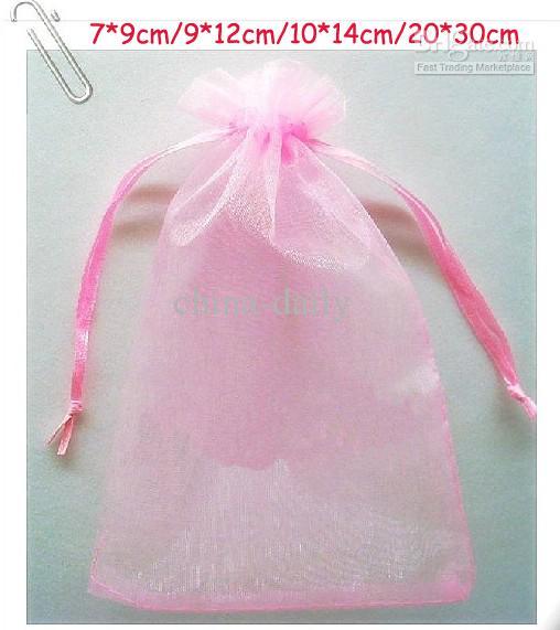 Gratis schip 200 stks roze 7 * 9 cm 9 * 12 cm 10 * 14cm 20 * 30cm organza sieraden tas bruiloft suikergoed cadeau tassen