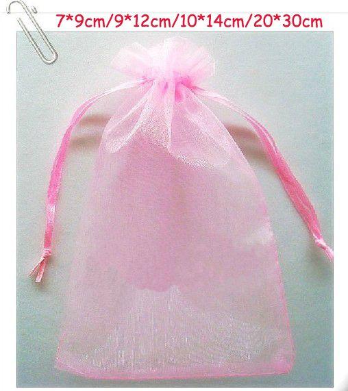 Navio livre Rosa 7 * 9 cm 9 * 12 cm 10 * 14 cm 20 * 30 cm Organza Jóias Saco de Festa de Casamento Doces Sacos de Presente
