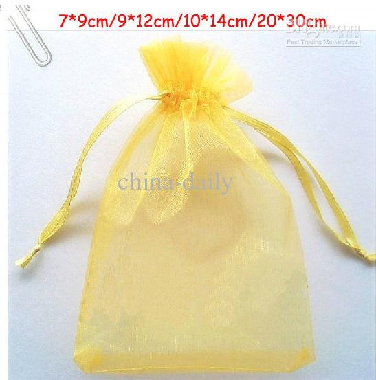 Navire gratuit or 7 * 9 cm 9 * 12 cm 10 * 14 cm Organza bijoux sac mariage parti bonbons cadeaux sacs