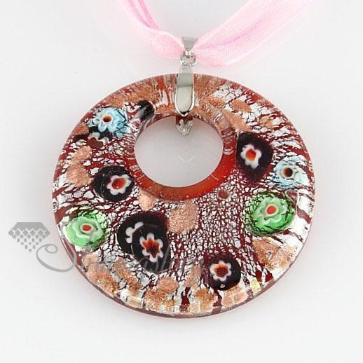 rouns sliver Foil millefiori murano lampwork colgantes hechos a mano de cristal itlian para collares joyas joyas para colgantes MUP100