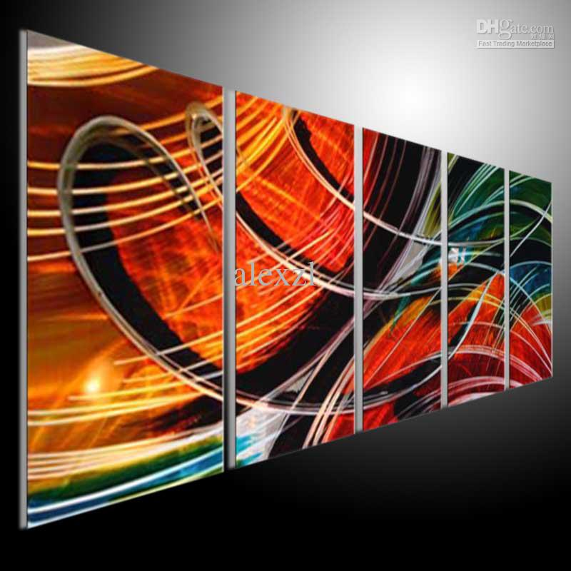 Metal wall art abstract modern sculpture painting handmade 5 panels melted gold 201207a23