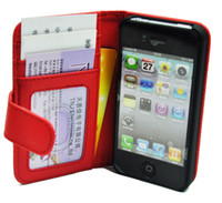 Wholesale 100pcs High Quality PU Leather Wallet Case Cover With Credit Card Slots For Iphone G S