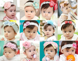Wholesale Baby Flower Band Hat - 25pcs Fashion Lacing BABY Girl Flower Head Bands Kids Hair Dressing Layers Bandana Braided Hat Bow