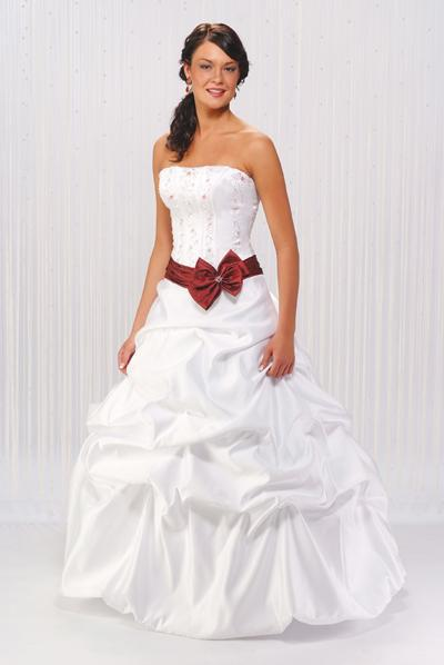 wedding dress with red sash | Wedding