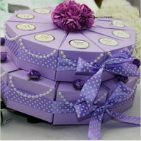 Wholesale Double Cake Box - Beautiful Wedding Favours Candy Box Wedding Favor Boxes like double-deck Cake 50Pcs Lot FFF 51
