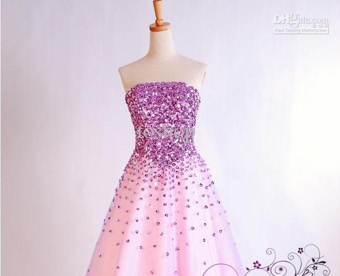 Unique Luxurious Pink Purple Wedding Dress Fashion New Sexy Long ...