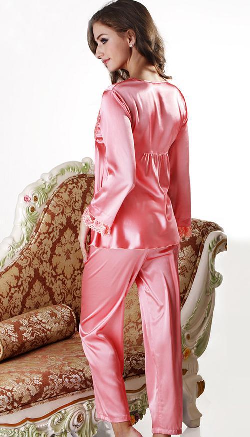 2017 Nwt Silk Cute Women's Pajama Sets Pants Solid Pink Long ...