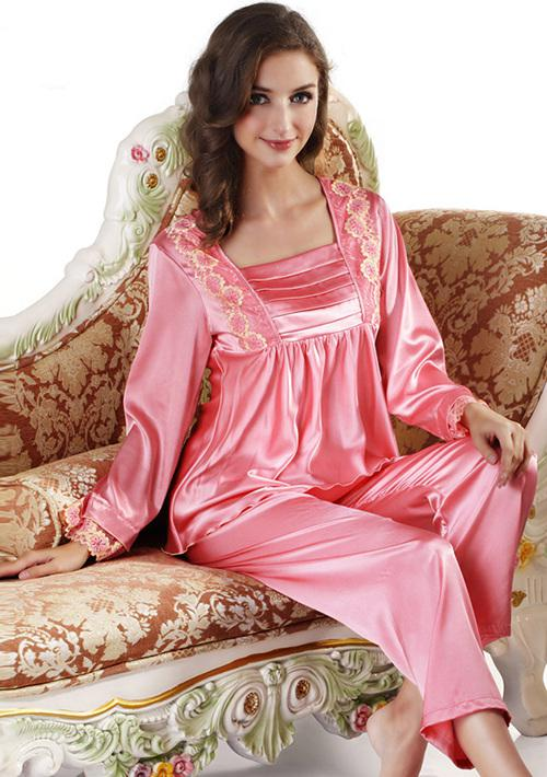 2017 Nwt Silk Cute Women S Pajama Sets Pants Solid Pink