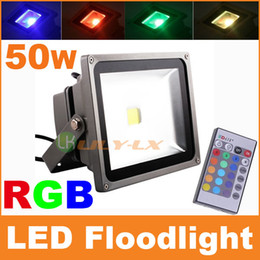 Wholesale Ir Floodlight Outdoor - 50W RGB LED Floodlight with IR remote controller 16 Color Changing AC85-265V Waterproof for Outdoor