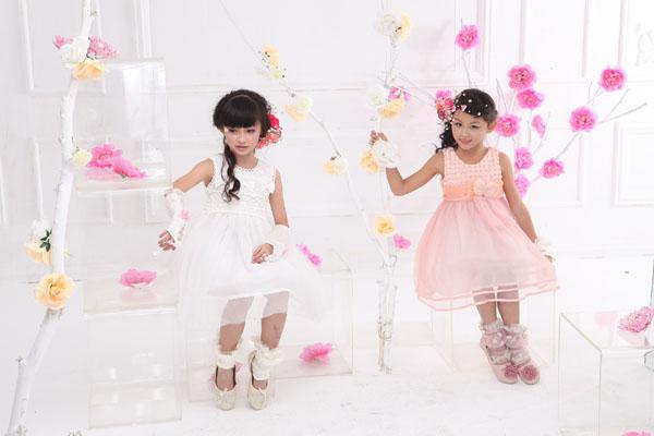 Lovely 100% cotton rose flower big bow girl dress round neck sleeveless princess dresses 6pcs a lot
