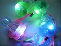 Wholesale whistle led party - 100pcs lot LED Flashing Whistle LED flashing pacifier buttery nipple pacifier for party supplies