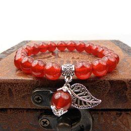 rotes schwarzes perlenarmband Rabatt Natürlicher roter Achatarmband schwarzer Onyxarmband Frauarmband erfolgreicher Karriereschmucksachen wulstige Stränge Armbänder 348