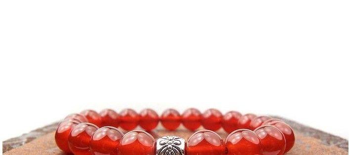 Naturlig röd Agate Armband Svart Onyx Armband Ms Armband Framgångsrik Karriär Smycken Beaded Strands Armband 348