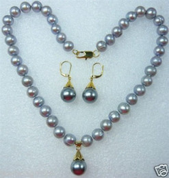 Ensembles De Boucles D'oreilles En Collier Gris Pas Cher-AAA Charming Grey Shell Pearl Earring Necklace Ensemble bijoux