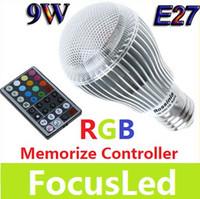 Wholesale Highest Power Rgb E27 9w - 2013 Highest Power RGB E27 9W 110-240V Led Bulb Light Lamp 2 Million Colors With Memorize Controller