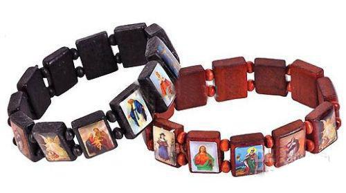120pcs * pulseiras religiosas de madeira ROSARY JESUS pulseiras Sãos / anjos