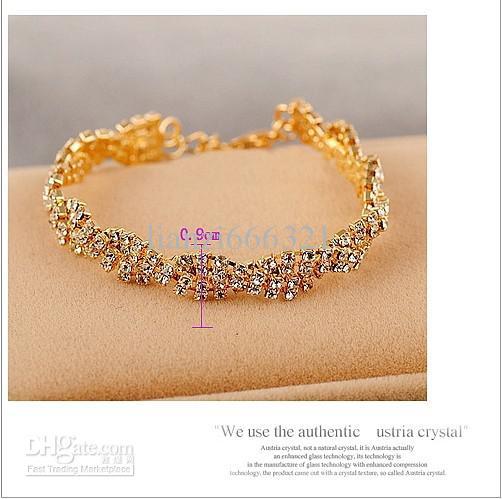 Hot New fashion genuine requintado completo diamante brilhando pulseira selvagem Pulseiras de Ouro Cadeia de Ligação Pulseiras 351