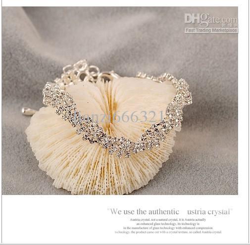 핫 새 패션 정품 절묘한 전체 다이아몬드 빛나는 야생 팔찌 골드 팔찌 링크 체인 팔찌 351