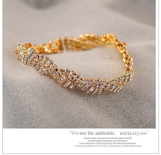 Hot New mode authentique exquis plein diamant brillant bracelet sauvage Bracelets d'or Link Chain Bracelets 351
