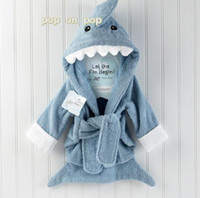 Wholesale Thermal Gown - boy's shark amice gown turban bath towel baby blanket baby robes receiving blankets bathrobe SH842