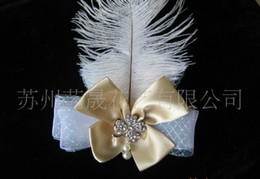 Wholesale Ostrich Feather Hair Bow - Ostrich Feather Hair Fascinator Clip With Ribbon Rhinestone Pearls Bow for Bride Wedding Party