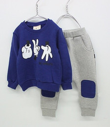 Wholesale Hooded Singlets - boys hooded tops suit singlet tees shirts jumpers sweatshirts baby outfits long pants panties F268