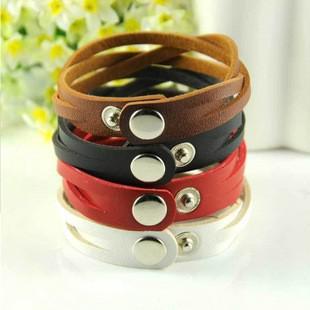 Hot New Fashion leather preparation braid ornaments leather bracelet unisex strap lacing Women Bracelets free shipping 354