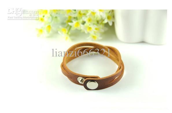 Hot New Fashion leather preparation braid ornaments leather bracelet unisex strap lacing Women Bracelets 354