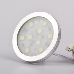 Display Cases Lights Canada - Round Led cabinet light 9pcs of SMD5050 1.8w Slim Rigid Strip White Warm White For Display Show Case