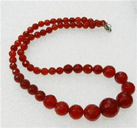 Beaded Necklaces Middle Eastern Women's Faceted 6-14mm Exquisite Red Ruby Round Beads Gems Jewelry Necklace 18""