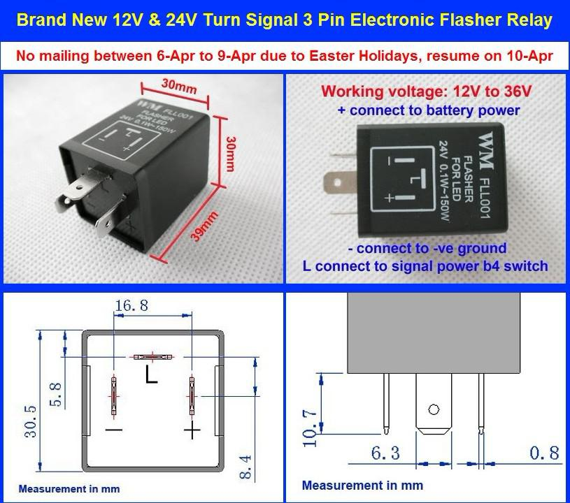 short description high quality 3 pin electronic flasher relay working
