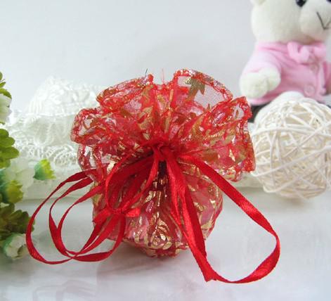 Freeship 200 stks roze 25cm 32cm diameter ronde organza voile rose sieraden tassen bruiloft cadeau tas