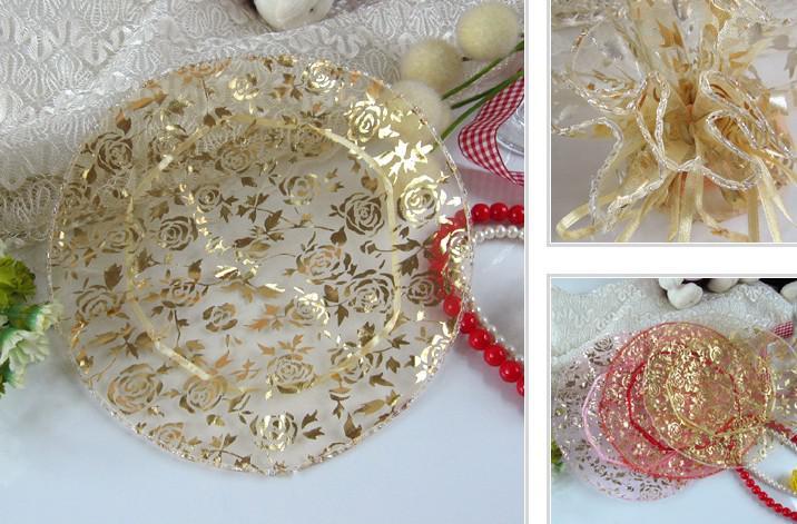300pcs Rosa Gold Rot 25cm 32cm Durchmesser Runde Organza Voile Rose Schmuck Hochzeit Geschenk-Taschen