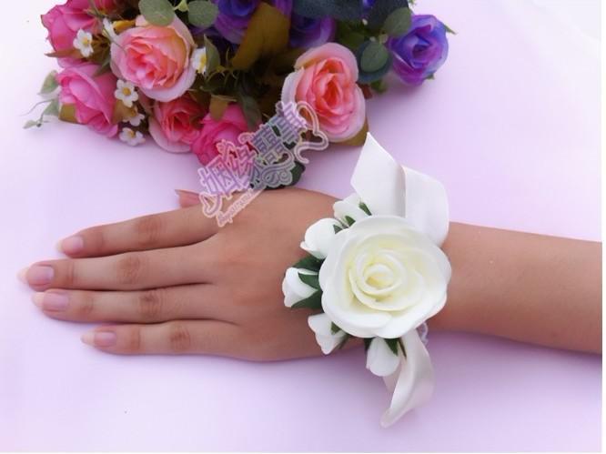 신부의 손 꽃 꽃 자매는 흰색 장미 50 개 웨딩 공급 흰색
