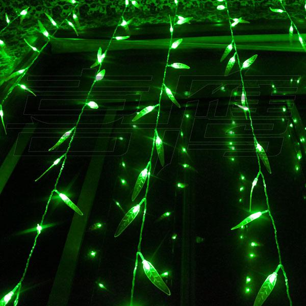 300 LED-lampor 3m * 3m Salix Leaf Gardin Light, Flash Christmas Ornament Fairy Bröllopsljus, Grön Vattentät LED Light Strip Lighting Strips