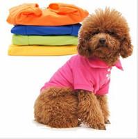 Wholesale Candies Apparel - 10pcs Multi-Color Optional Dog Clothes Candy Color Pet Polo T-Shirts Colorful Dog Cat Apparel