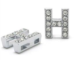 "Wholesale H Harness - Wholesale 50pcs Internal Size 10mm rhinestone slide letter ""H"" NO: 0008"