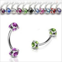 Wholesale Double Gem Belly - Body jewelry mixed color double gem belly ring, press fit navel button ring body piercing jewelry