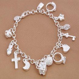 Wholesale Elegant Bracelet Sterling Silver - factory price Free shipping fashion 925 silver charm Elegant Noble Beautiful pendant girl bracelet