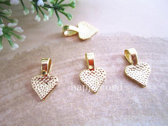 Bronze, argent, or coeur Bail-Belle sur vos Scrabble Tiles et pendentifs en verre 10m 100pcs / LOT