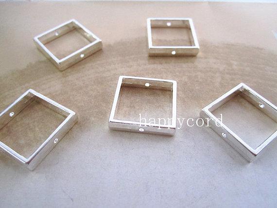 Partihandel Silver Square Jump Ring Link 20mm Smycken Resultat 100st / Lot