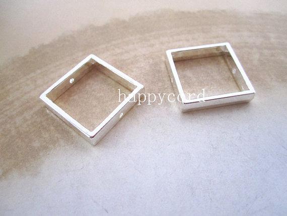 Venta al por mayor de plata Square Jump Ring Link 20mm Resultados de la joyería 100 unids / lote